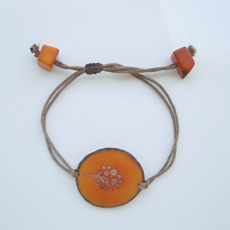 Large Orange Seed Slice Bracelet Sliding Sizer Unusual Jewelry