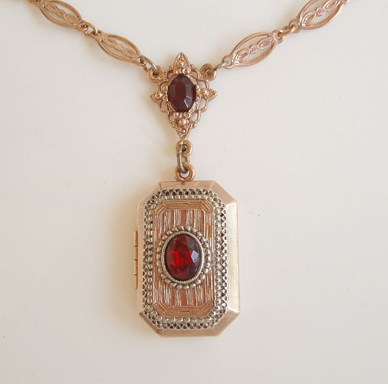 Lorée Company Red Ruby Gold-Plated Locket Necklace 1982 Gemstone Jewelry w Tags