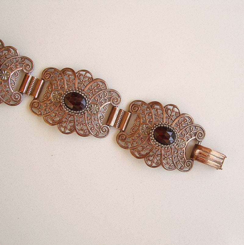 Copper-Plated Book Chain Bracelet Ruby Red Crystals Smaller Wrist Vintage Jewelry