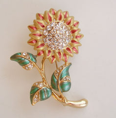 Pavé Rhinestone Sunflower Pin Multi-Color Enamel Floral Jewelry