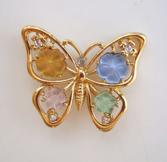 Monet Butterfly Pin Molded Glass Flowers Rhinestones Figural Jewelry