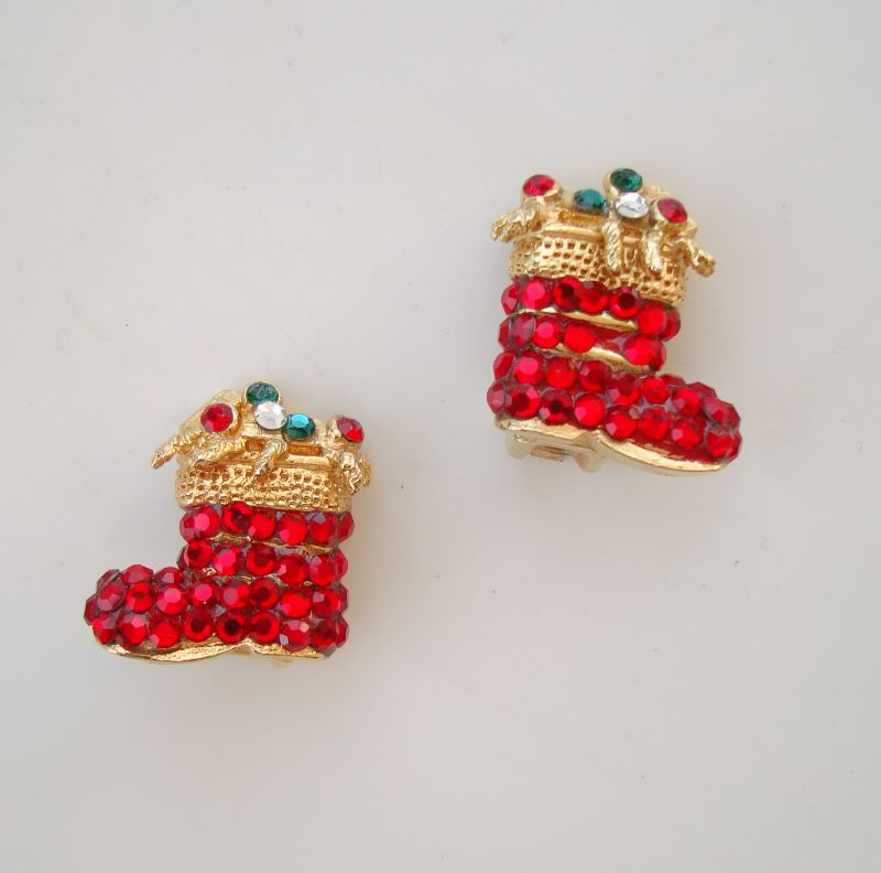 Tara Red Christmas Boots Clip On Earrings Colorful Holiday Jewelry