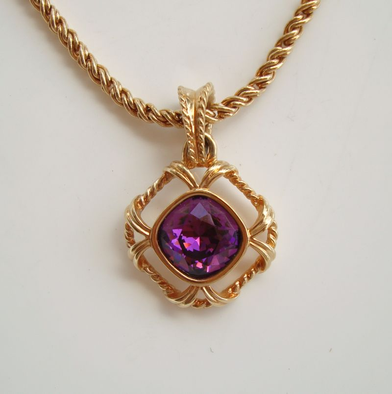 SAL Swarovski Amethyst Crystal Pendant Necklace Brilliant Cut GP Vintage Jewelry
