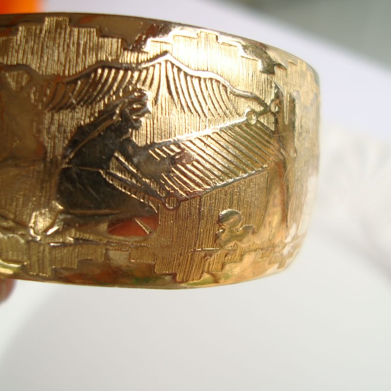Stunning Gold Plated Engraved Cuff Bracelet Asian Mural Signed Vintage Jewelry