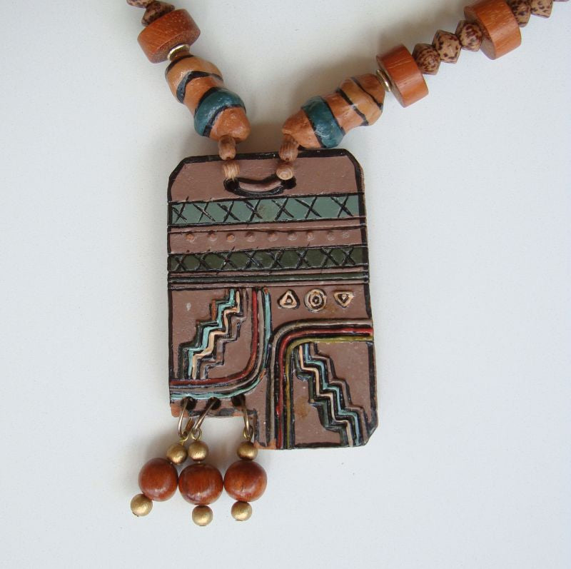 SW Indian Style Ceramic Wood Necklace Big Chunky Vintage Jewelry