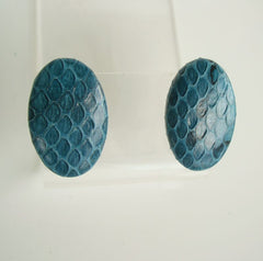 Teal Colored Faux Snake Skin Post Style Earrings Vintage Jewelry