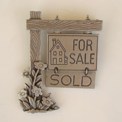 JJ Realtor Pin For Sale Sign Flowers Sold Sign Pewter Figural Jewelry