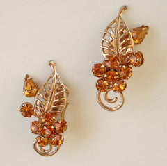 Topaz Rhinestones Clip On Earrings Openwork Leaf Vintage Jewelry