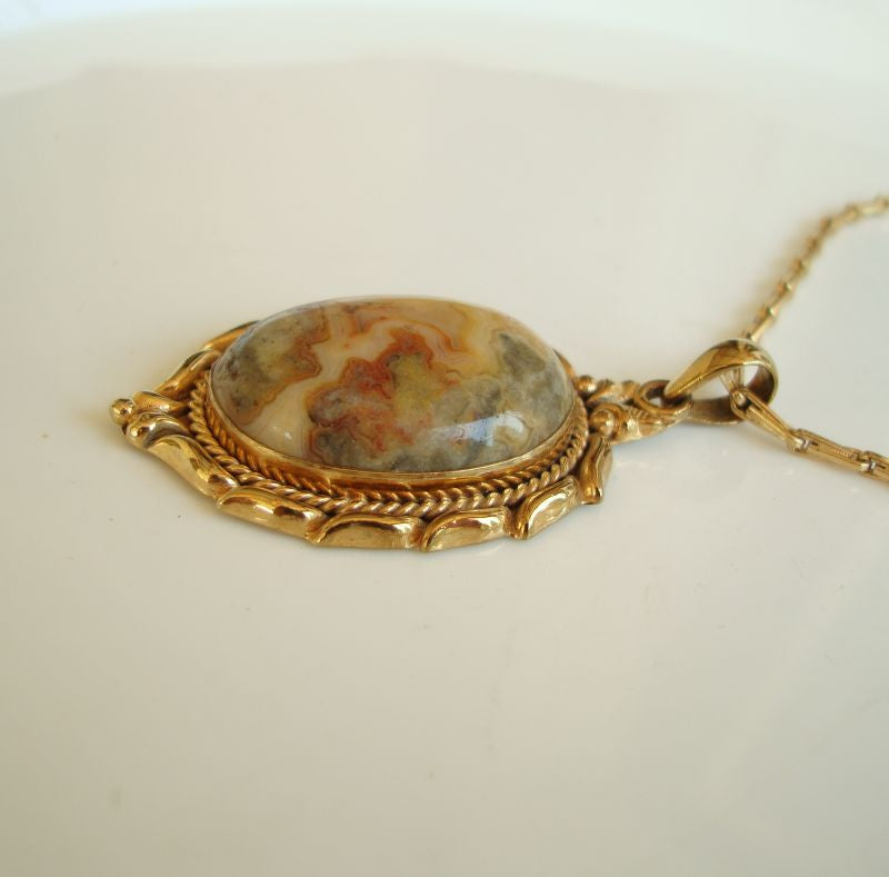 Crazy Lace Agate Pendant Necklace Rose Gold-Plated Gemstone Jewelry
