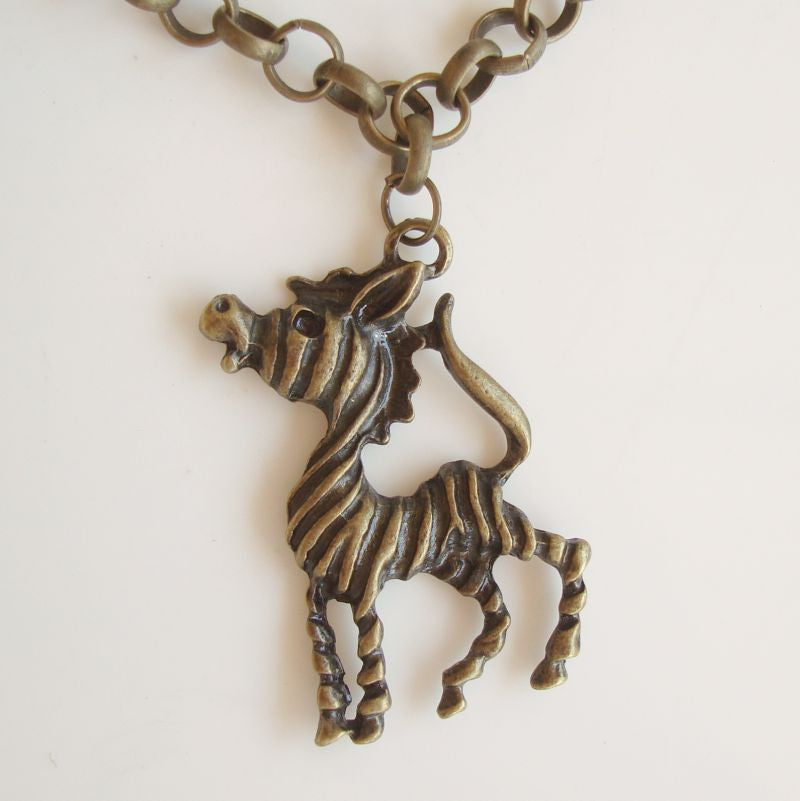 Bronze Zebra Pendant Necklace Antiqued Rolo Chain Braying Vintage Figural Jewelry
