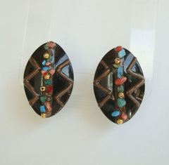 Wedding Cake Style Turquoise Coral Pierced Earrings Gemstone Vintage Jewelry