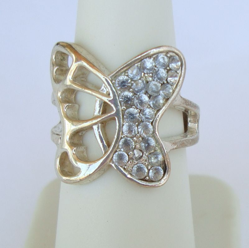 Openwork Butterfly Ring Blue Rhinestones Size 7 Figural Jewelry