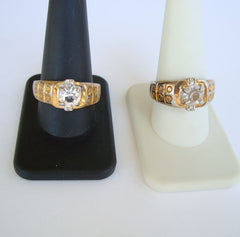Pair Mid-Century Modern Rings Size 10 Size 11 Fab Vintage Jewelry
