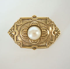 Retro Art Deco Mabé Pearl Lapel Pin Tie Tac Vintage Jewelry