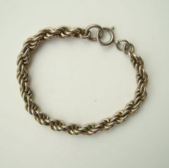 12K Gold Filled Rope Style Chain Bracelet 0.25 inch Wide Vintage Jewelry