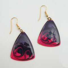 Poured Enamel Abstract Earrings Hot Pink Dark Purple Vintage Jewelry