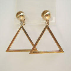 Bergére Signed Triangle Hoops Clip On Earrings Vintage Jewelry