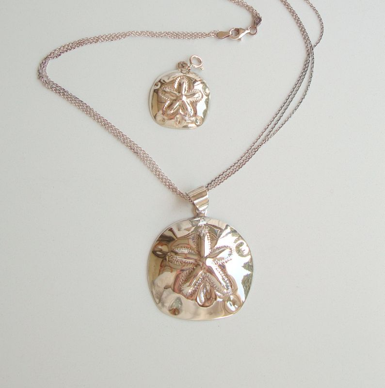 SX XS Sterling Silver Sand Dollar 3-Strand Necklace and Charm Marine Figural Jewelry