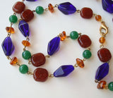 Multi-Color Glass Bead Necklace Cobalt Blue Carnelain Amber Jade Colors