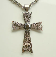 Large Filigree Maltese Cross Pendant Necklace Hematite Religious Jewelry