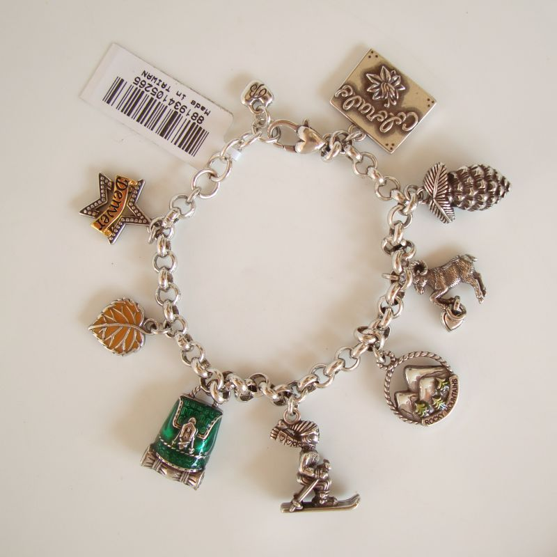 Brighton Colorado Charm New Bracelet Mountains Skis Pinecone Figural Jewelry