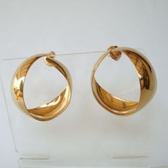 Wide Twisted Shiny Goldtone Hoop Earrings
