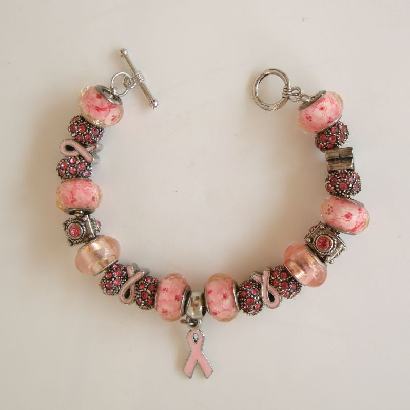 Pink Awareness Slider Bracelet Lampwork Rhinestones Enamel Statement Jewelry