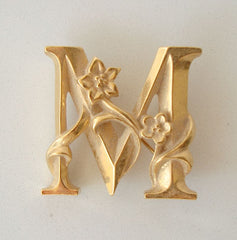 Avon Monogram M Brooch Floral Accents Vintage Floral Jewelry