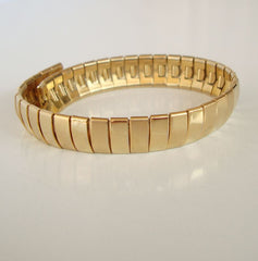 Goldtone Metal Watch Band Style Bracelet 8+ inches Highly Flexible Jewelry