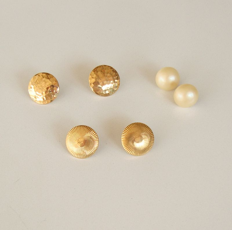 Monet Three Pairs Button Earrings Goldtone Pearls Vintage Jewelry Lot
