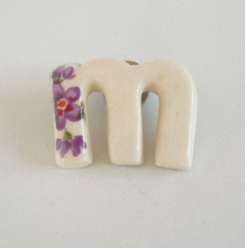 Letter M Ceramic Tie Tac Lapel Pin White Purple Flowers Monogram Jewelry
