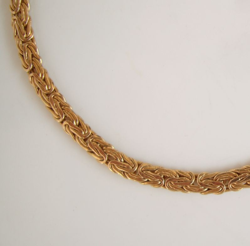 Milor 14K Yellow Gold Bracelet Flat Byzantine Design 8 inches Elegant Jewelry