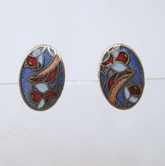 Small Cloisonné Stud Earrings Colorful Abstract Floral Vintage Jewelry