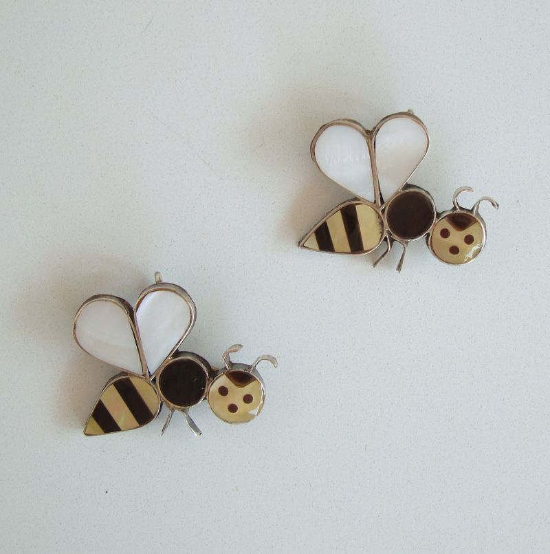 Pair of Honey Bee Brooches or Necklace Pendants Sterling Silver Figural Jewelry