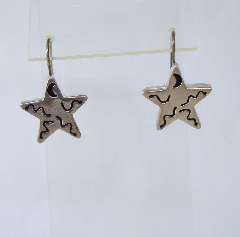 Silpada Sterling Silver Star Earrings Crescent Moon c2005 Figural Jewelry