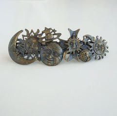 Sun Moon Antiqued Metal Hair Barrette Fun Figural Hair Jewelry