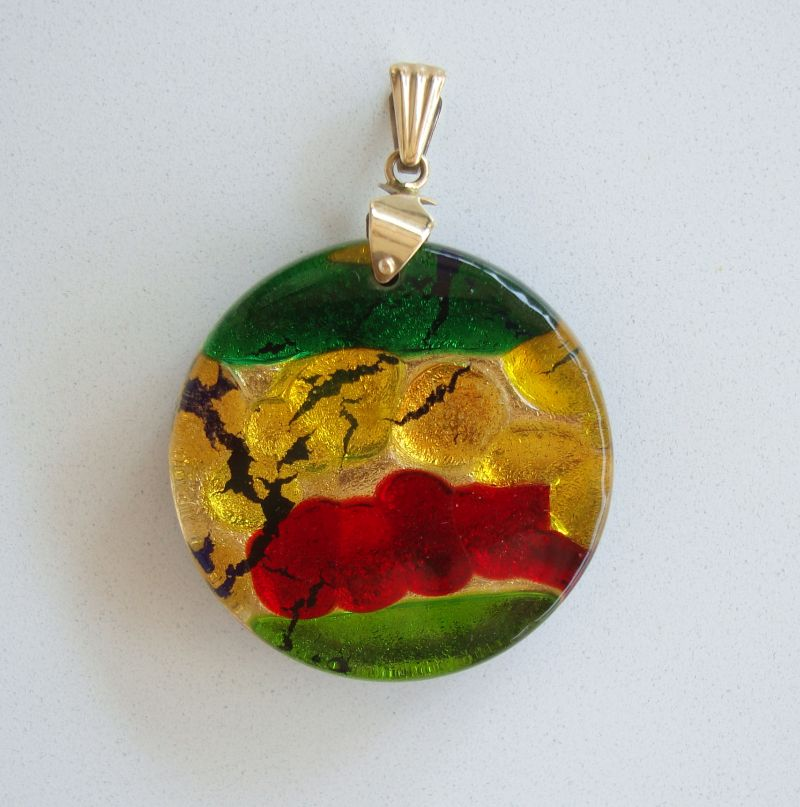 Colorful Fused Glass Necklace Pendant Red Yellow Green Handcrafted Jewelry