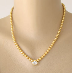 Joan Rivers Solitaire Rhinestone Necklace Goldtone Beads Designer Jewelry