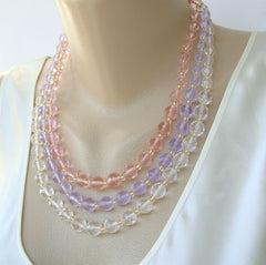 Joan Rivers 3-Strand Necklace Pink Lavender Clear Crystal Beads Designer Jewelry