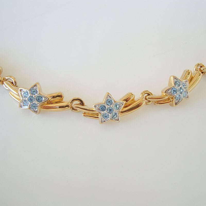 Blue Crystal Star Link Necklace Gold Plated Elegant Jewelry