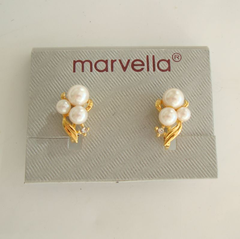 Marvella Petite Pearl Cluster Clip On Earrings New on Card Designer Jewelry
