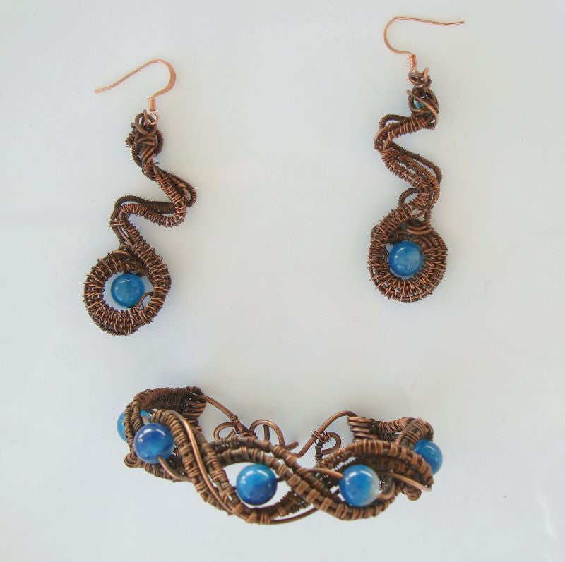 Copper Wire Wrapped Bracelet Dangle Earrings Blue Stone Artisan Jewelry