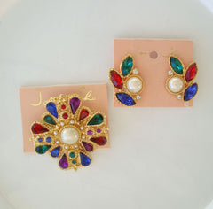 JoAnn She Colorful Brooch Clip Earrings Set Rhinestones Pearls Original Cards