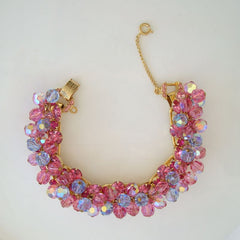 Book Chain Link Bracelet Pink Blue Glass Beads Rhinestones Safety Chain