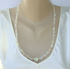 Glass Crystal AB Necklace 24 Inches Sparkling Vintage Jewelry