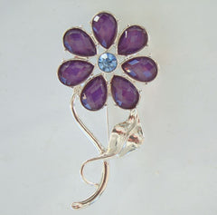Purple Blue Flower Pin Pear-Shaped Briolette Cut Rhinestones Fab Floral Jewelry