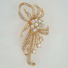 Rhinestone Studded Stylistic Flower Brooch Vintage Floral Jewelry