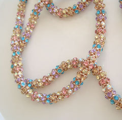 Betsy Johnson Rhinestone Studded Rope Style Necklace Colorful Jewelry