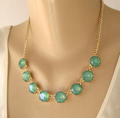 Natasha Emerald Green Faceted Plastic Stones Link Necklace