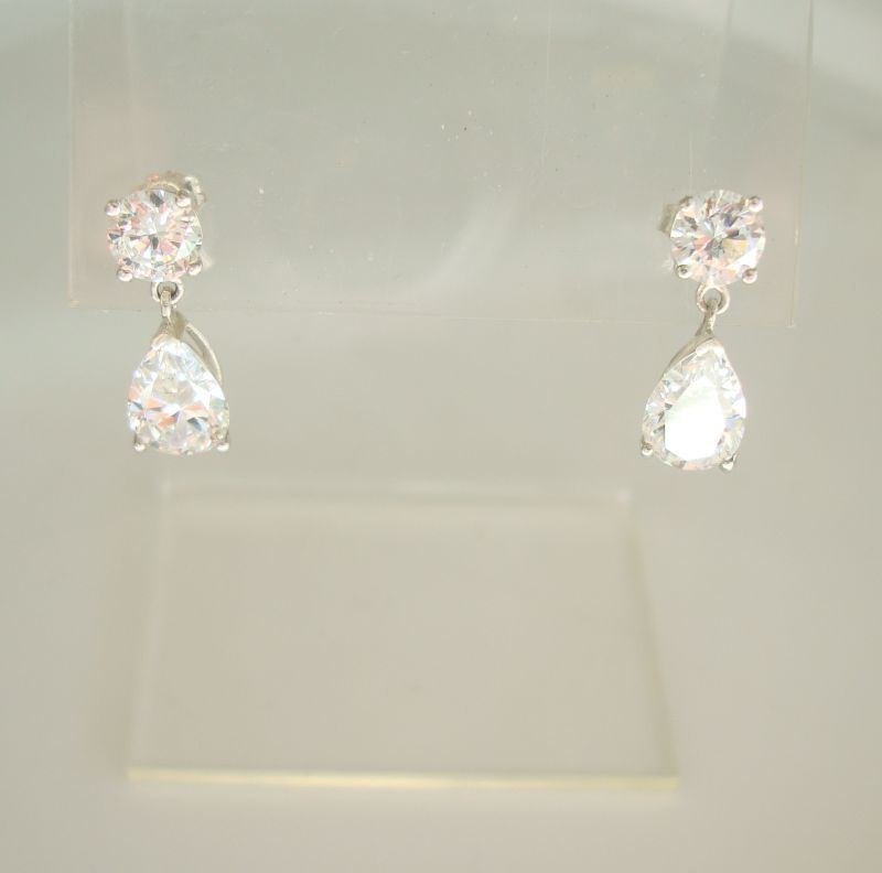Diamonique Sterling Silver CZ Drop Earrings Sparkling Elegant Jewelry